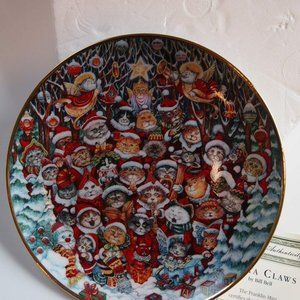 Santa Claws Plate By Bill Bell Decor Cats 24 Kt